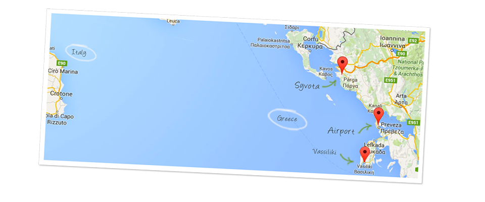 Syvota lefkas airport map en